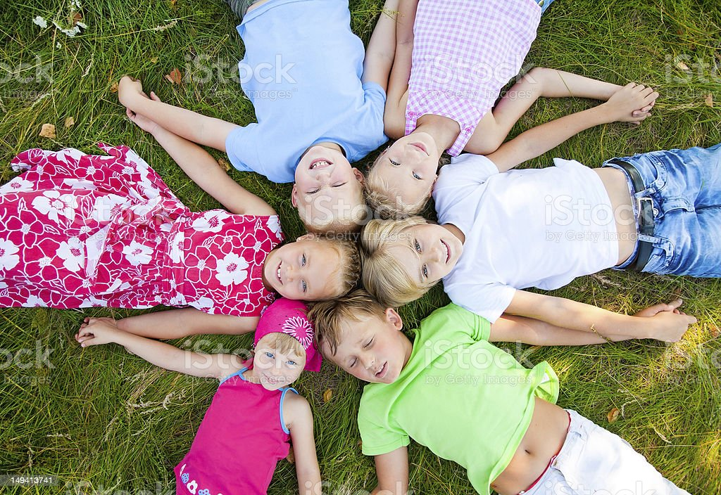 Six  cute children together royalty-free stock photo