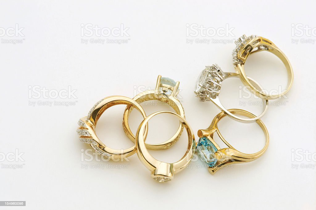 Six diamond rings isolated on white stock photo
