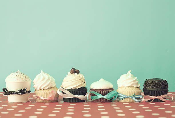 Six different cupcakes stock photo