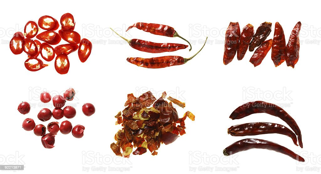 six different kinds of chilli pepper spices super macro shots stock photo