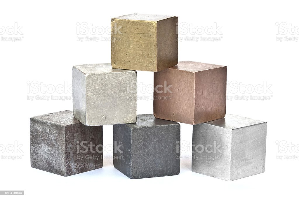 Six different metal cubes isolated on white royalty-free stock photo