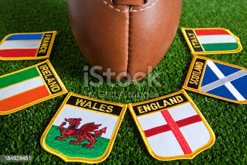 istock Six different nation's badges for rugby around a rugby ball 184929451