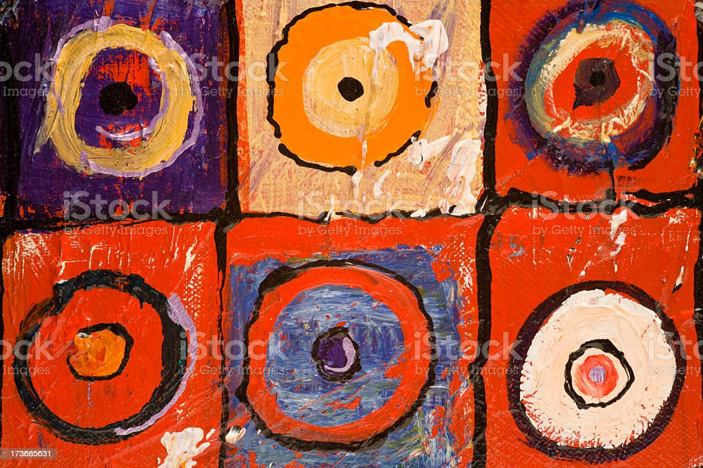 Six different paint depictions of a bulls-eye stock photo