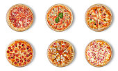 Six different pizza set for menu. Italian food traditional cuisine. 1) Meat pizzas with  salami 2) seafood 3) ham 4)pepperoni 5) barbecue 6) flaming pie.  Visit my page. You will be able to find an image for every pizza sold in your cafe or restaurant.