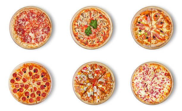 Six different pizza set for menu. Italian food traditional cuisine. 1) Meat pizzas with  salami 2) seafood 3) ham 4)pepperoni 5) barbecue 6) flaming pie. stock photo