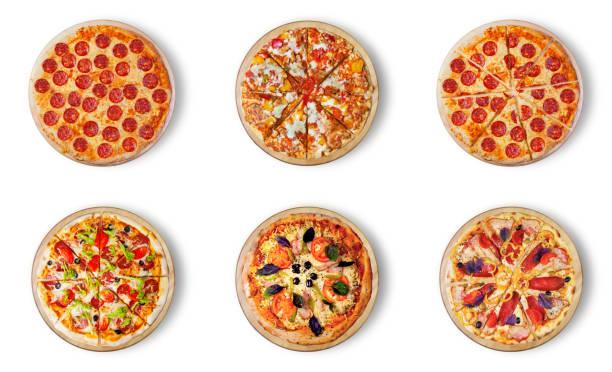 6 다른 피자 세트 메뉴입니다. 이탈리아 음식 전통 요리입니다. 모 짜 렐 라, 살라미, 소시지, 페퍼로니, 햄과의 고기 피자 스톡 사진