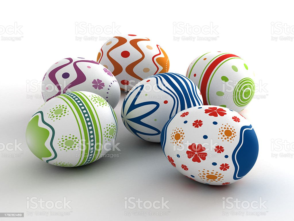Six different styles and colors of Easter eggs  royalty-free stock photo