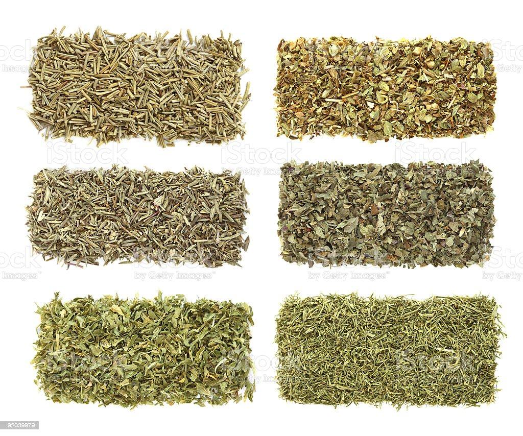 six dried herbs Rosemary Oregano Thyme Basil Parsley Dill royalty-free stock photo