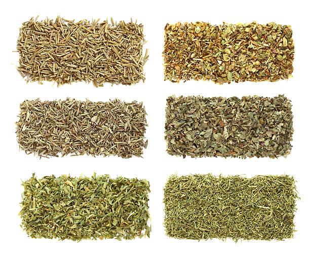 six dried herbs Rosemary Oregano Thyme Basil Parsley Dill stock photo