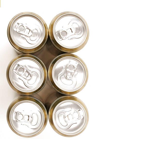 six des canettes de dessus isolé sur blanc - pack de six photos et images de collection