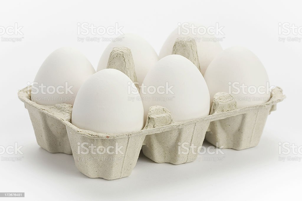 six eggs in a box royalty-free stock photo