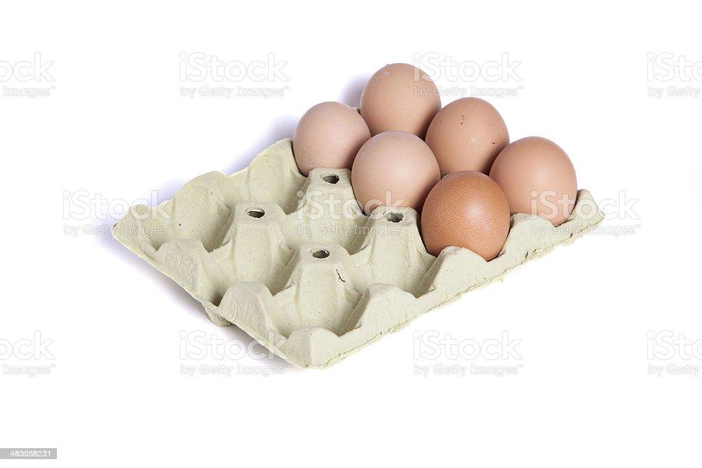 Six eggs in a dozen eggs cardboard stock photo