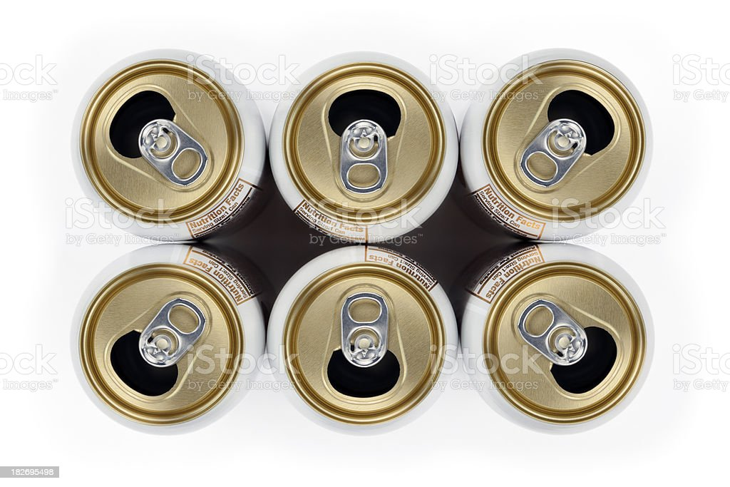 Six Empty Beverage Cans royalty-free stock photo