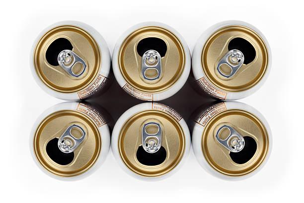 six canettes vides et les boissons - pack de six photos et images de collection