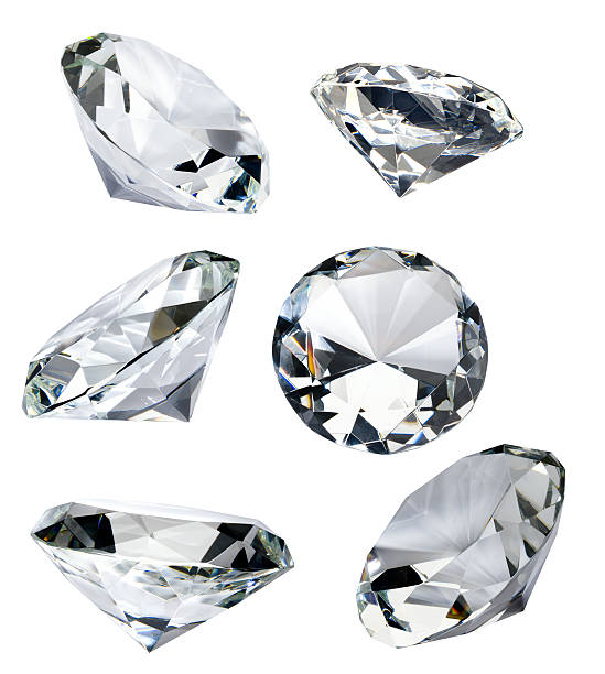 """Six Faceted Diamonds Isolated on White with Clipping Path Six glass """"diamonds"""" isolated on white with clipping path.  These were separate shots composed together into one. stone object stock pictures, royalty-free photos & images"""