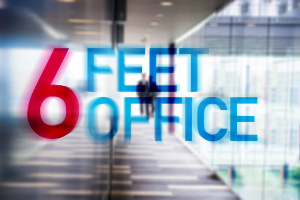 Six Feet Office is the new normal office solution for the Covid-19 outbreak stock photo