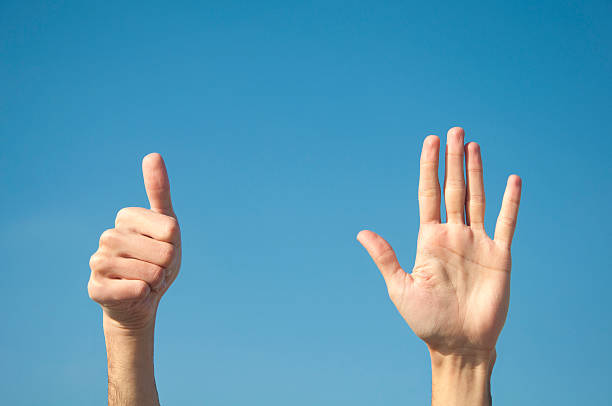 six fingers with two hands. - number 6 stock photos and pictures