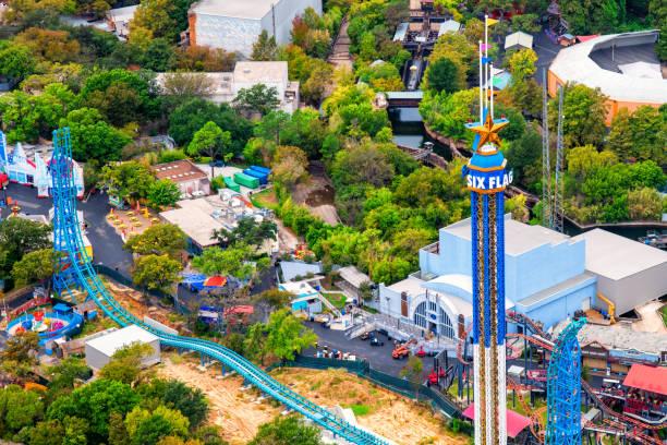 Six Flags Amusement Park Aerial stock photo