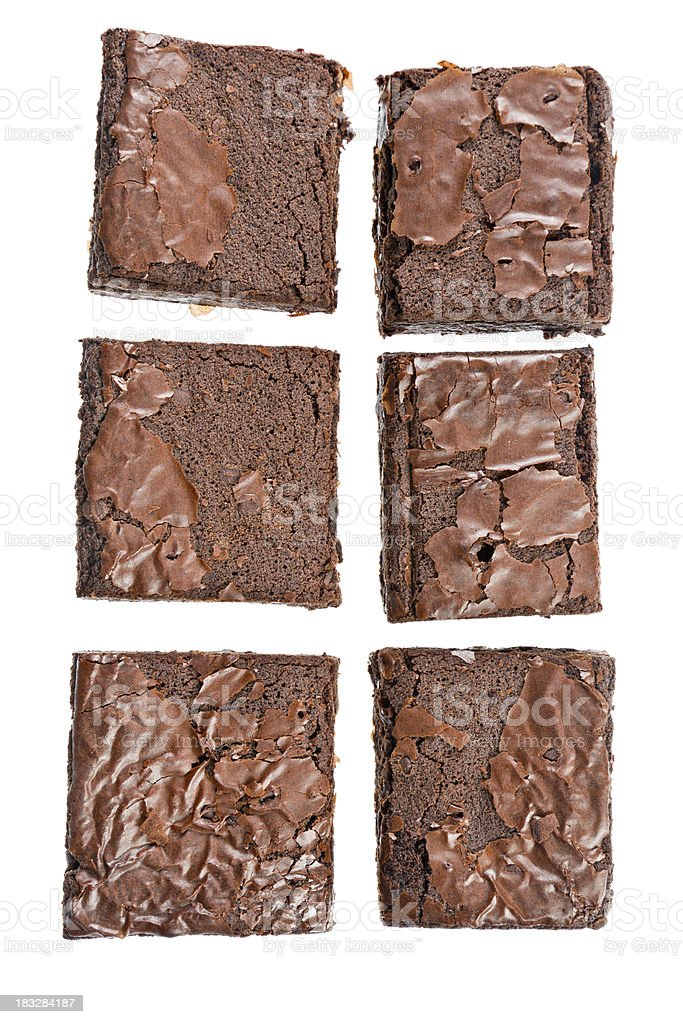 Six Fresh Baked Brownies Isolated royalty-free stock photo