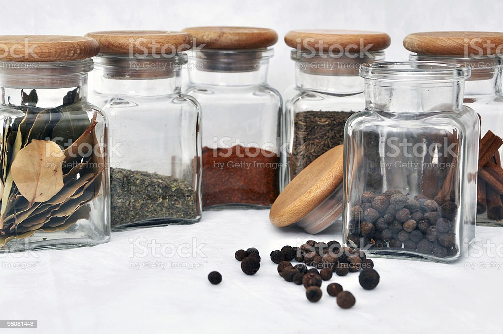 Six glasses of spice and allspice royalty-free stock photo