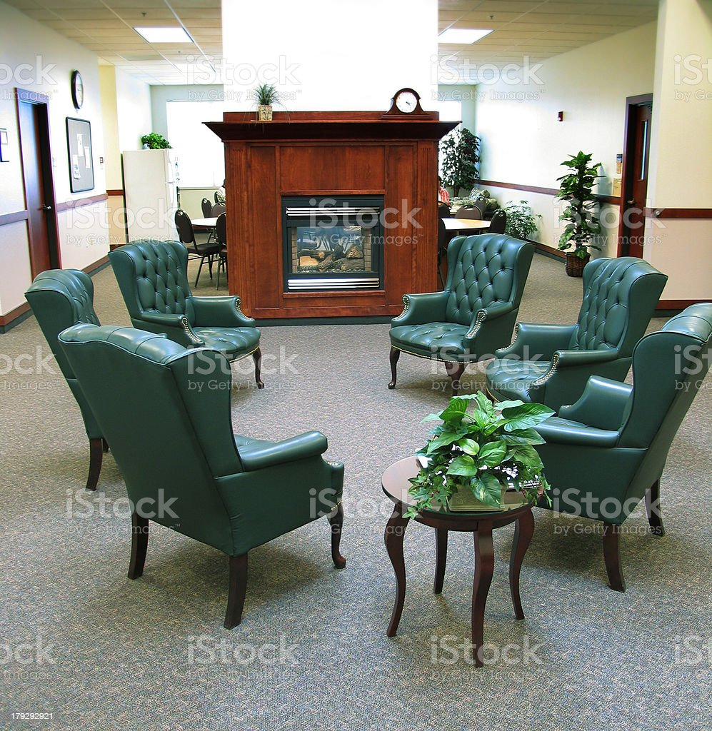 Six Green Chairs in Meeting Room royalty-free stock photo