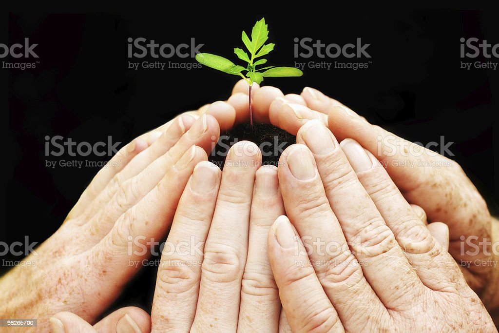 Six hands building circle royalty-free stock photo