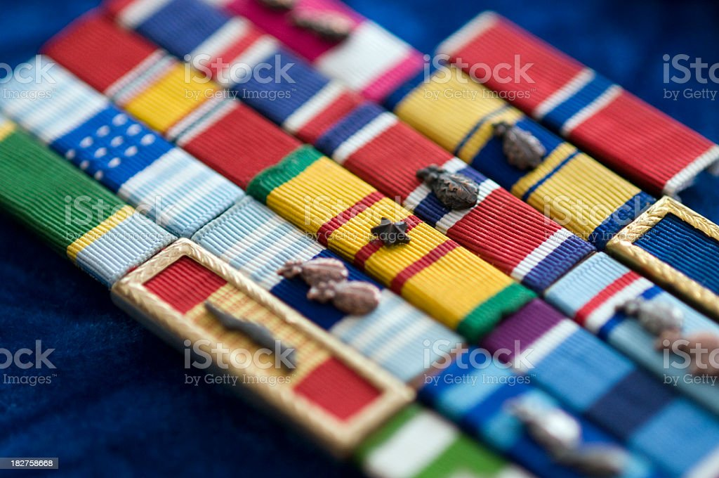 Six historic military ribbons displayed stock photo