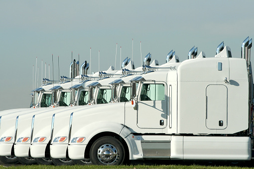 Six Identical White Semi Trucks Parked Together Stock Photo - Download Image Now