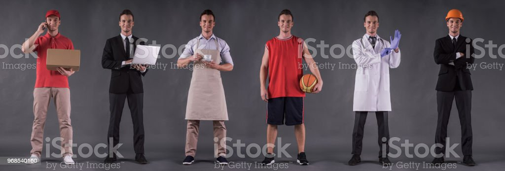 Six images of handsome guy stock photo