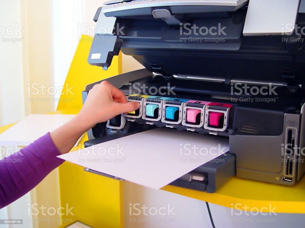 Six inks printer stock photo