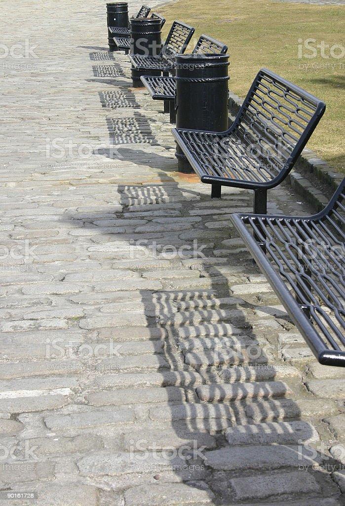 Six Iron Benches royalty-free stock photo