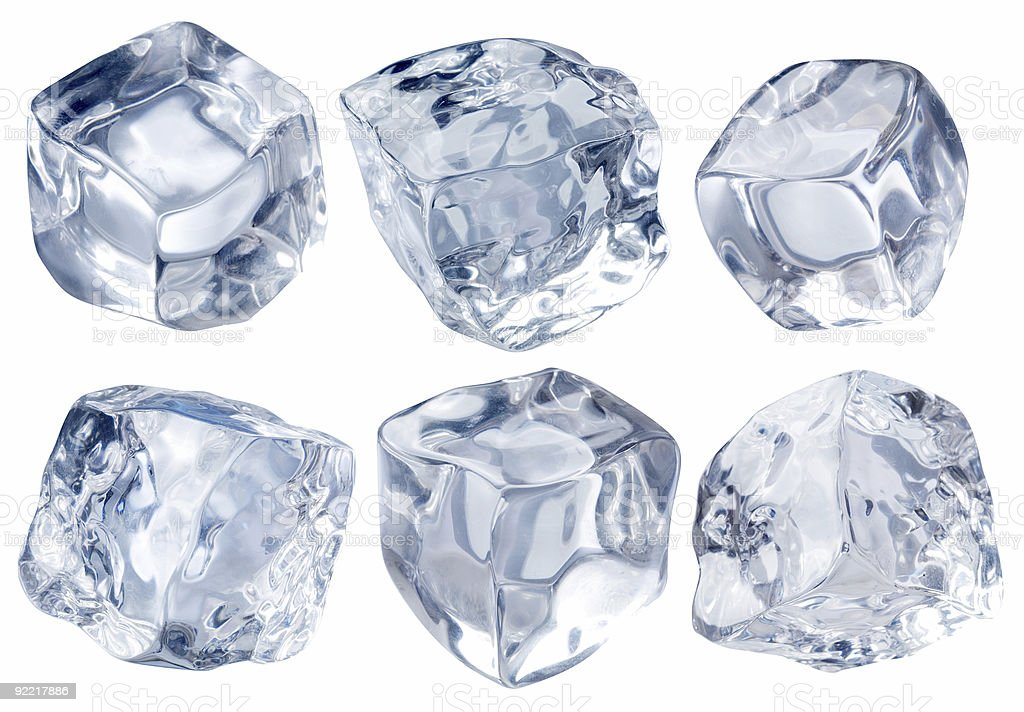 Six irregular cubes of blocks of ice in a white background royalty-free stock photo