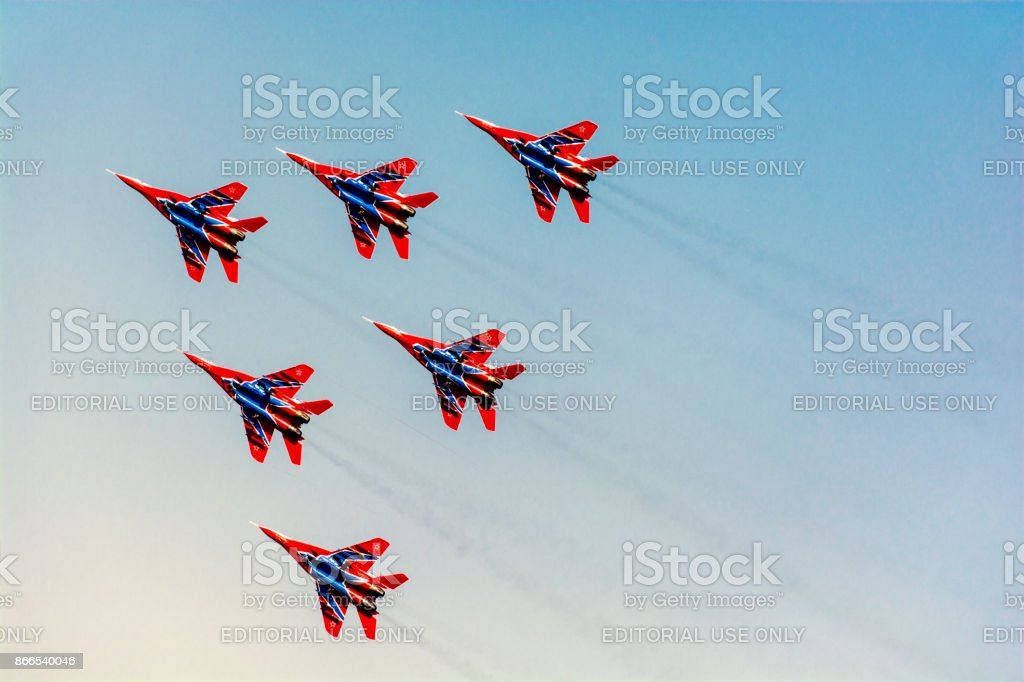 Six jet fighters MiG-29 of Russian military aerobatic team 'Swifts' stock photo