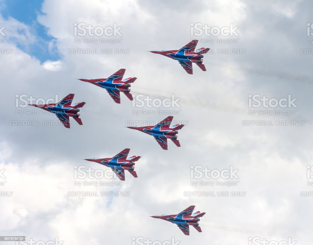 Six jet fighters Mikoyan MiG-29 of Russian aerobatic team 'Swifts' stock photo