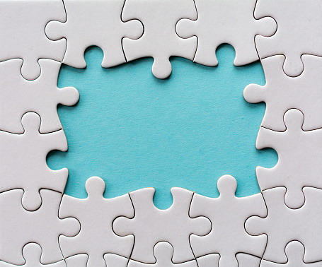 Six last connecting pieces last piece of a blank jigsaw puzzle