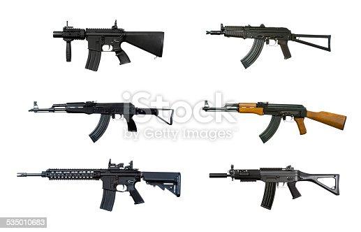 Six machine guns, isolated on white