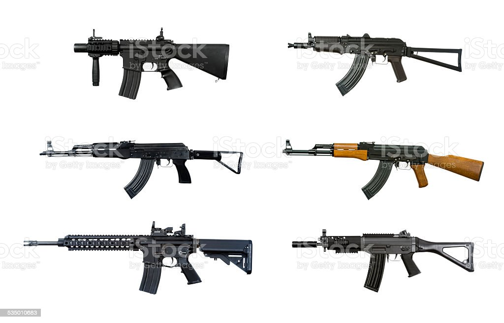 Six machine guns stock photo