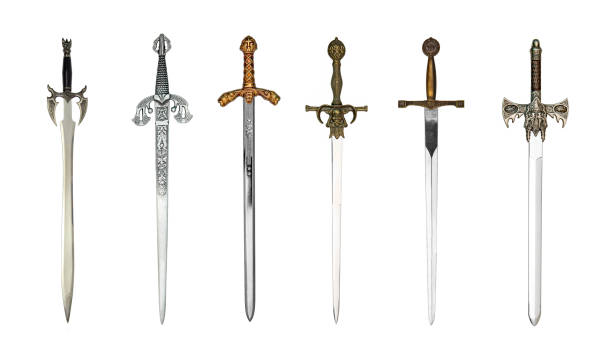 Six medieval swords stock photo