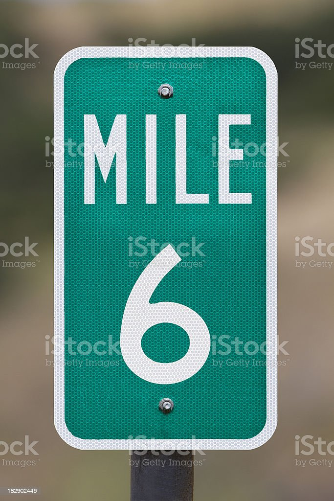 Six Mile Marker stock photo