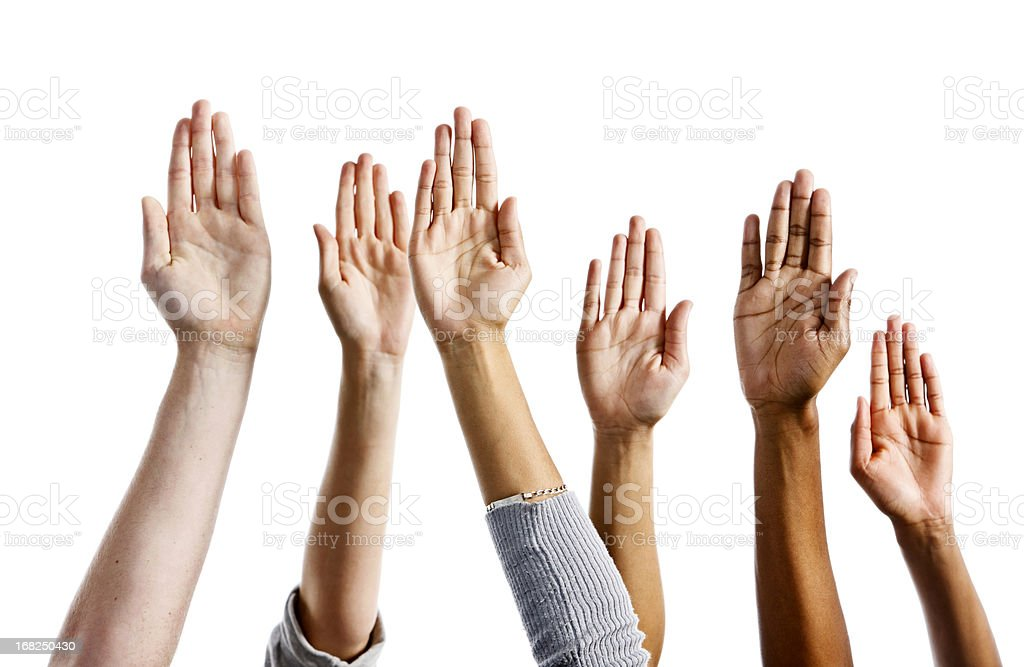 Six mixed hands raised against white background stock photo