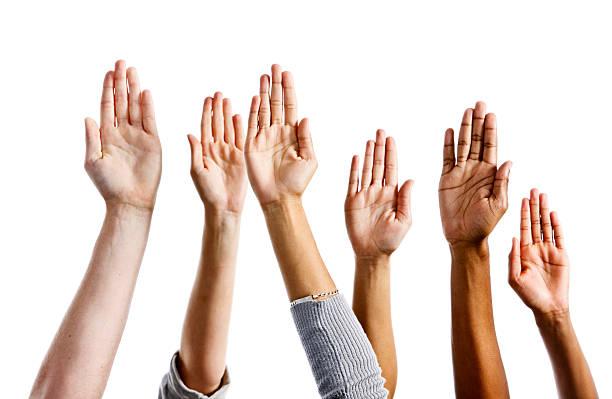 sei diverse mani sollevate su sfondo bianco - palmo foto e immagini stock