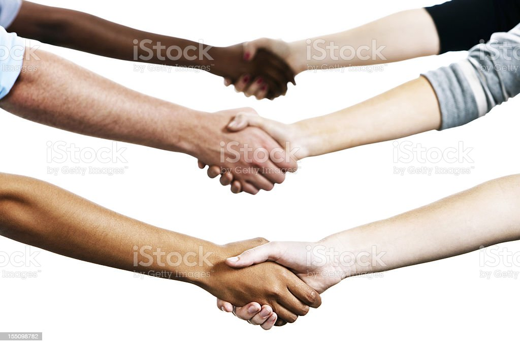 Six mixed people shake hands against white royalty-free stock photo