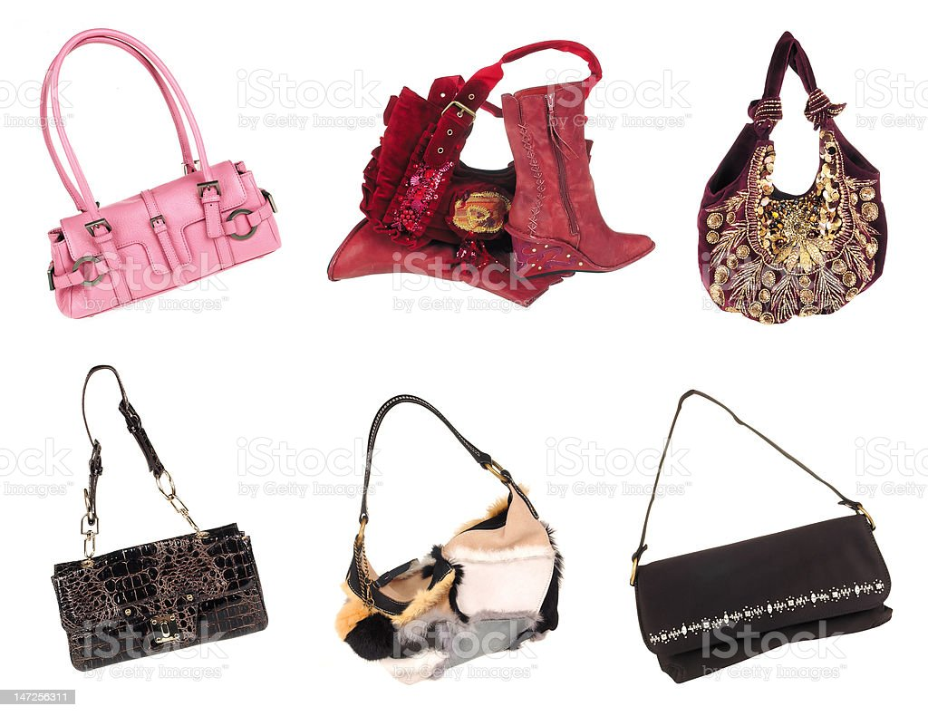 Six modern women Bags cutout royalty-free stock photo