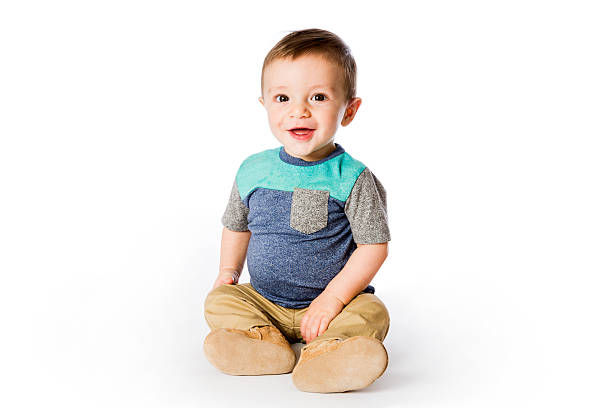 Six Month Old Baby Sitting Up stock photo