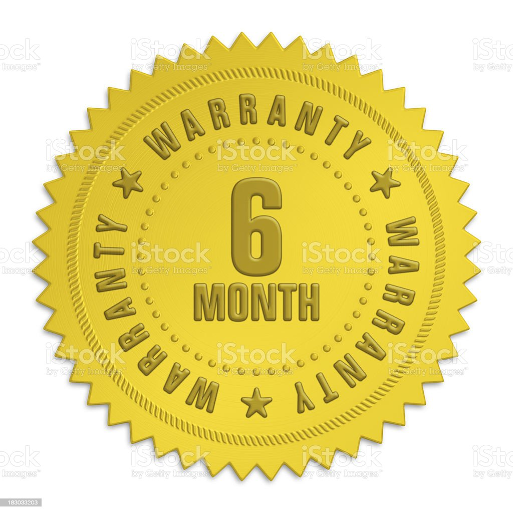six month warranty label royalty-free stock photo