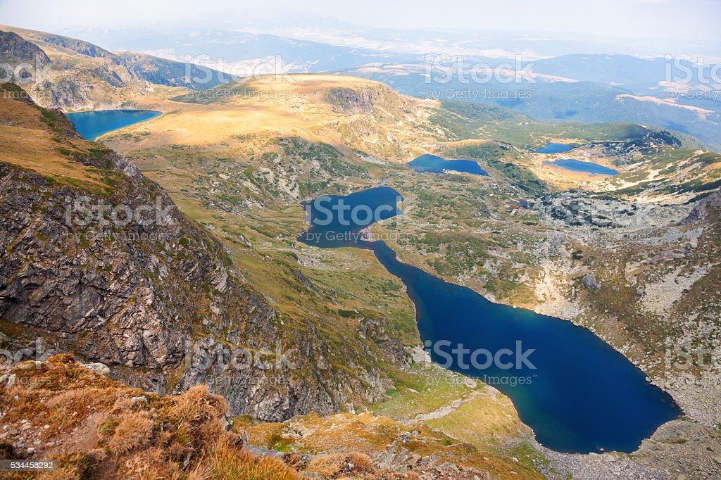 Six of the Seven Rila Mountain Lakes stock photo