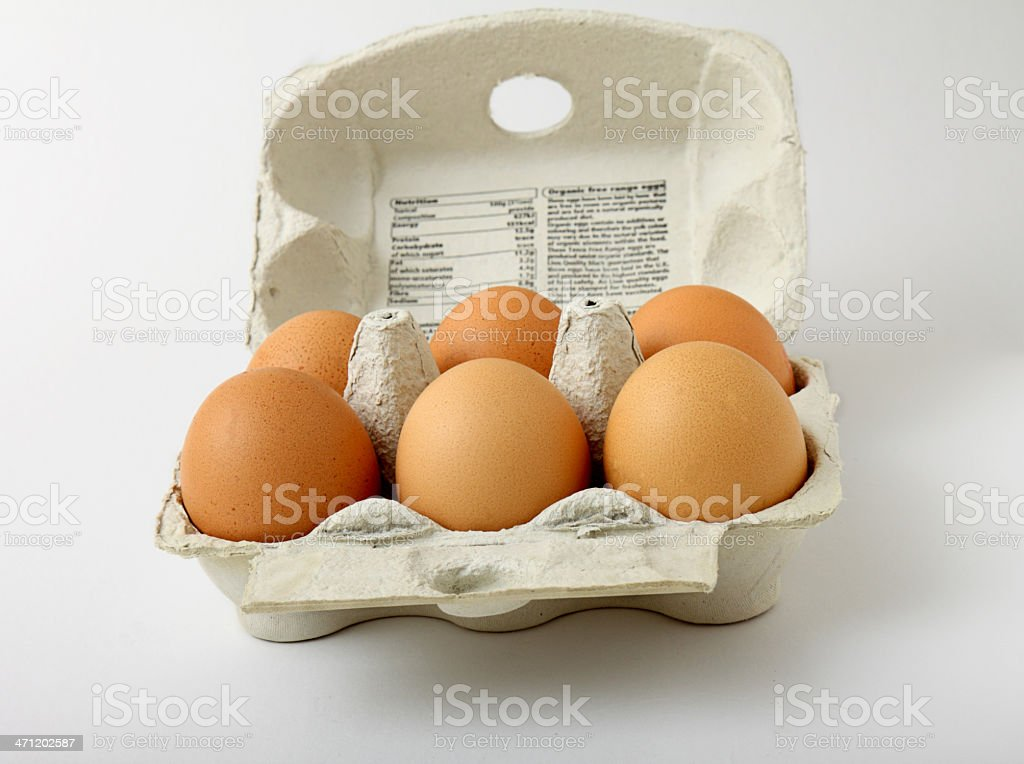 six organic free range eggs in carton royalty-free stock photo