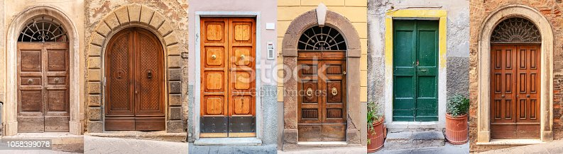 A set of six old-fashioned apartment doors on streets in the Italian region of Tuscany.