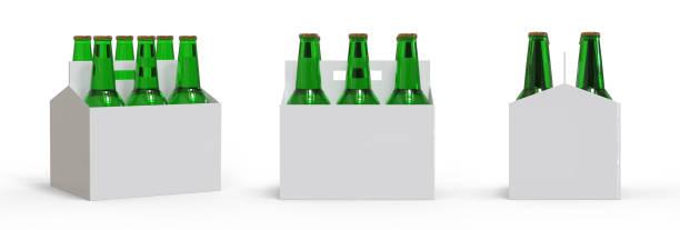 pack de six bouteilles de bière dans boîte en carton - pack de six photos et images de collection