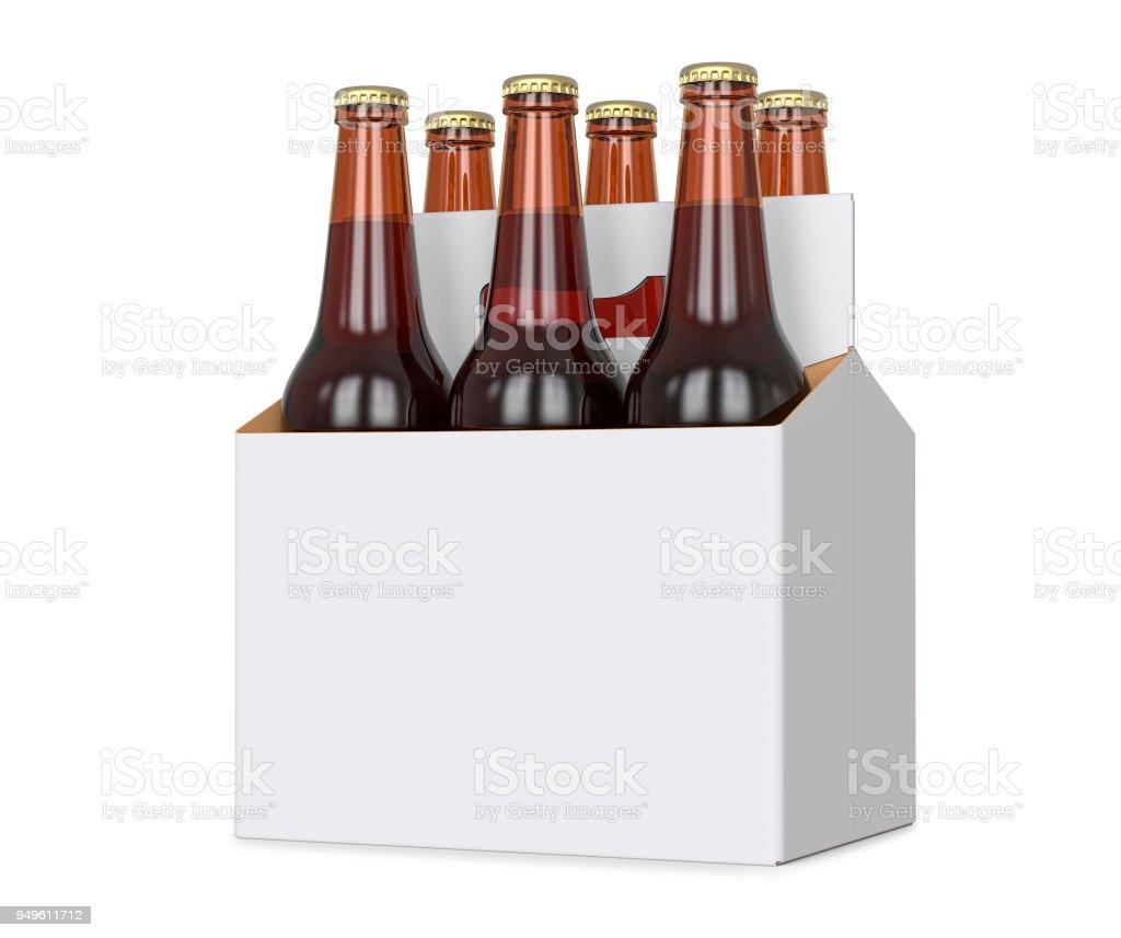 Six pack de bouteilles de bière brune au transporteur vide. Rendu 3D, isolée isolé sur fond blanc. photo libre de droits